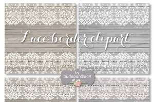 Lace border wood clipart