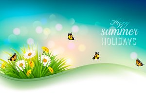 Happy summer holidays background.