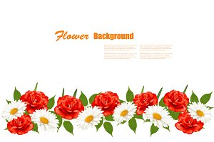 Background with daisies and roses.