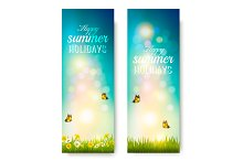 Happy summer holidays banners.