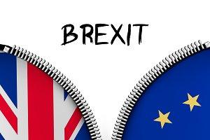 Zipper dividing UK and EU. Brexit.