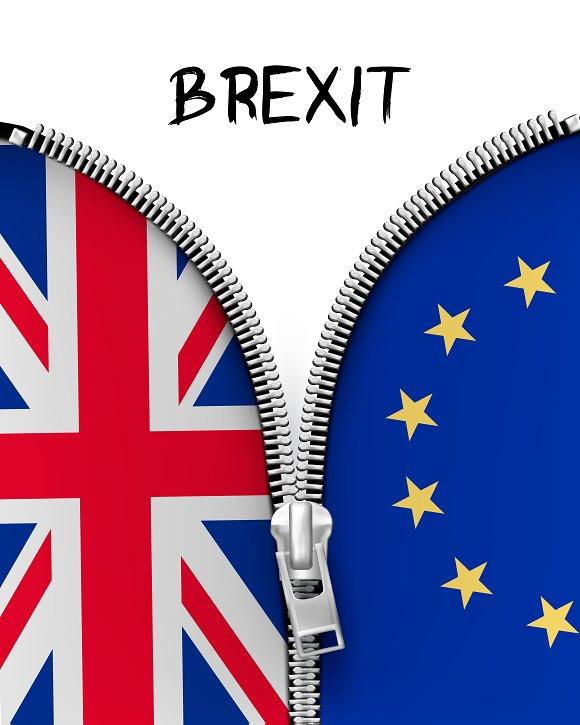Zipper dividing UK and EU. Brexit. - Illustrations
