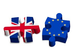 Puzzle pieces - UK and EU. Brexit.