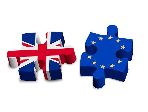 Puzzle pieces - UK and EU. Brexit. - Illustrations