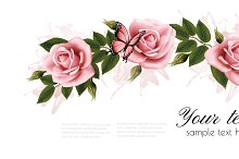 Flower frame with beauty pink roses.