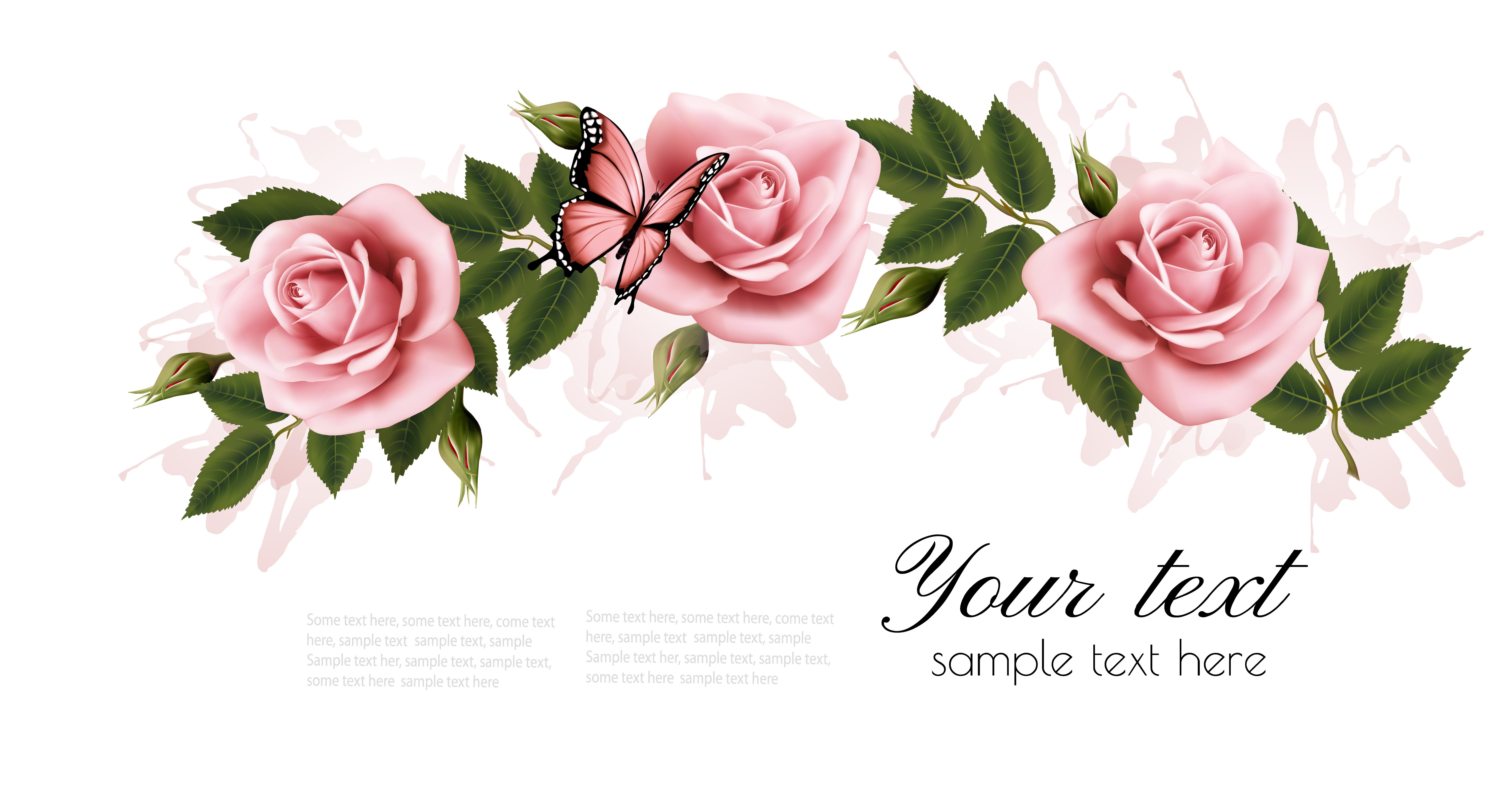 Flower Frame With Beauty Pink Roses Illustrations Creative Market