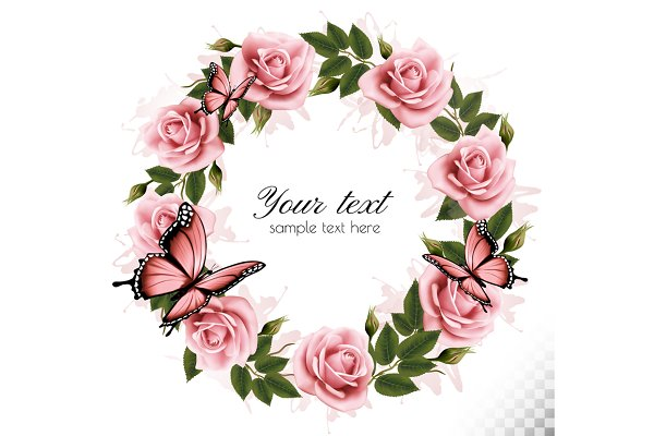Rose wreath with butterflies.