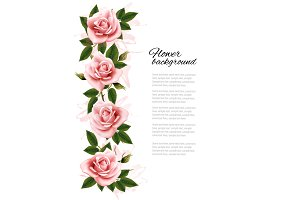Background with pink roses.