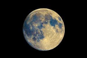 Full moon seen with telescope, enhanced colours