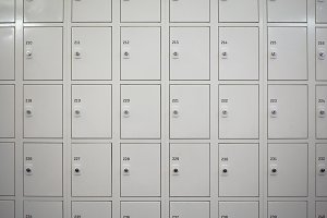Many Locker cabinets