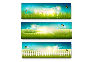 Summer meadow landscape banners.