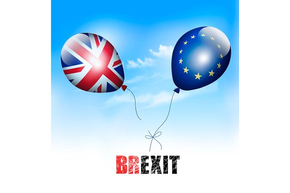 UK and EU on balloons. Brexit. - Illustrations