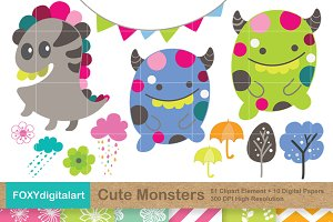 Cute Monsters Clipart and 10 Papers