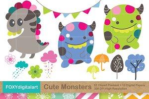 Monster Friends Vector Clipart Svg Pre Designed Photoshop Graphics Creative Market