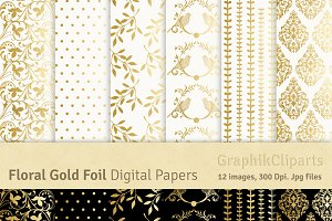 Gold Foil Floral Ornamental