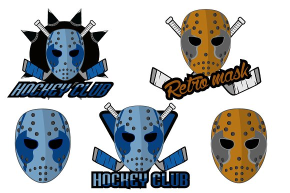 Retro Logo Mask Hockey Club