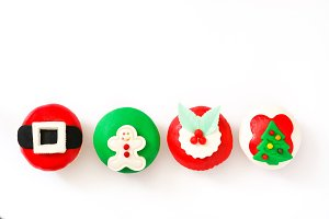 Christmas cupcakes isolated