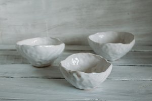 Three white bowls
