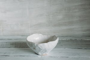 white bowl on a light background
