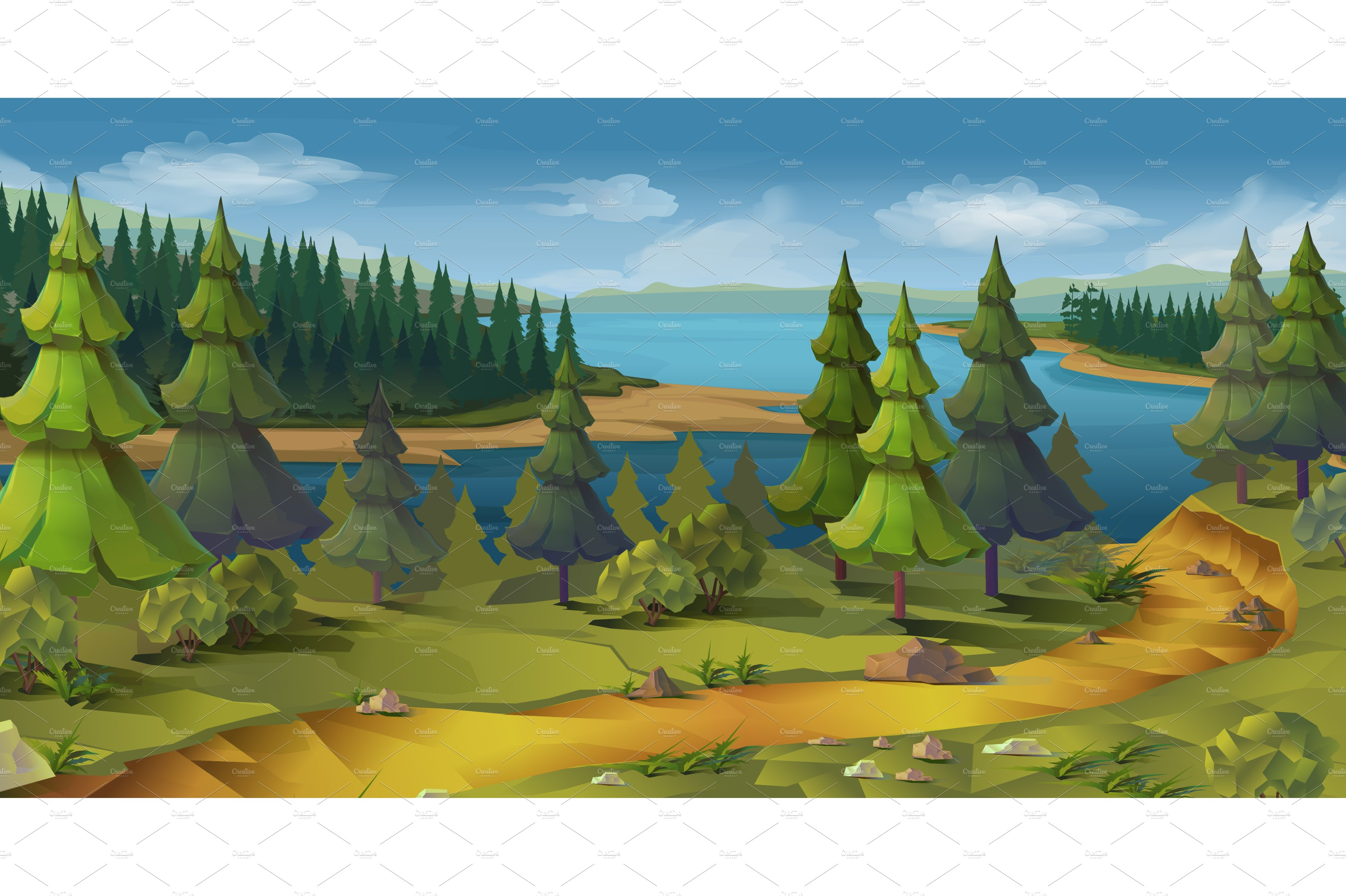 Nature, pine forest, game background ~ Illustrations ...
