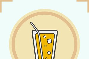 Lemonade with straw icon. Vector