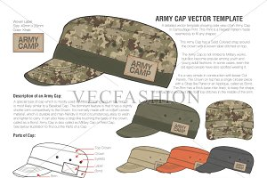 Olive Green Army Cap Vector Template