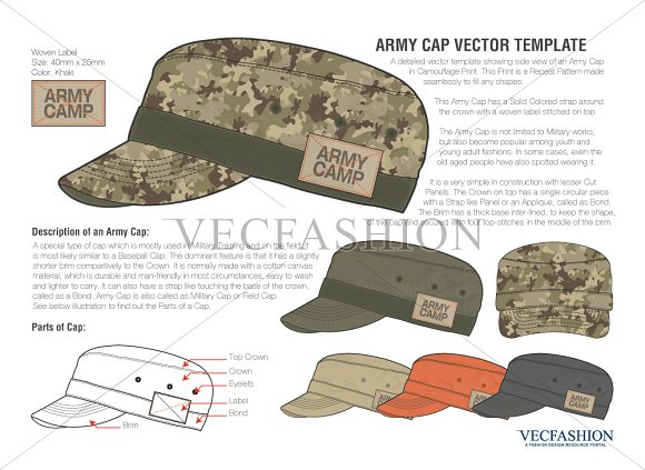 olive green army cap vector template illustrations creative market