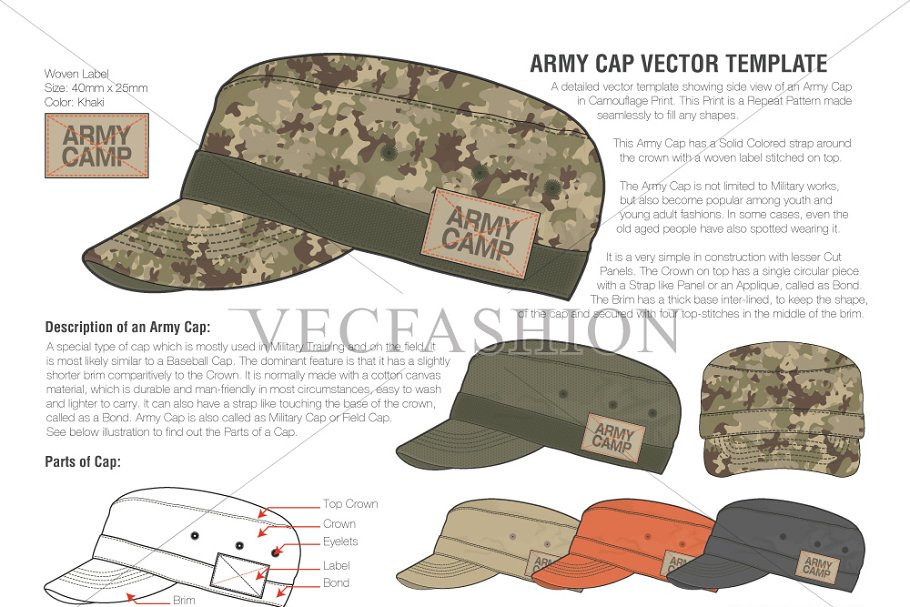 a977dd3fd41 Olive Green Army Cap Vector Template ~ Illustrations ~ Creative Market