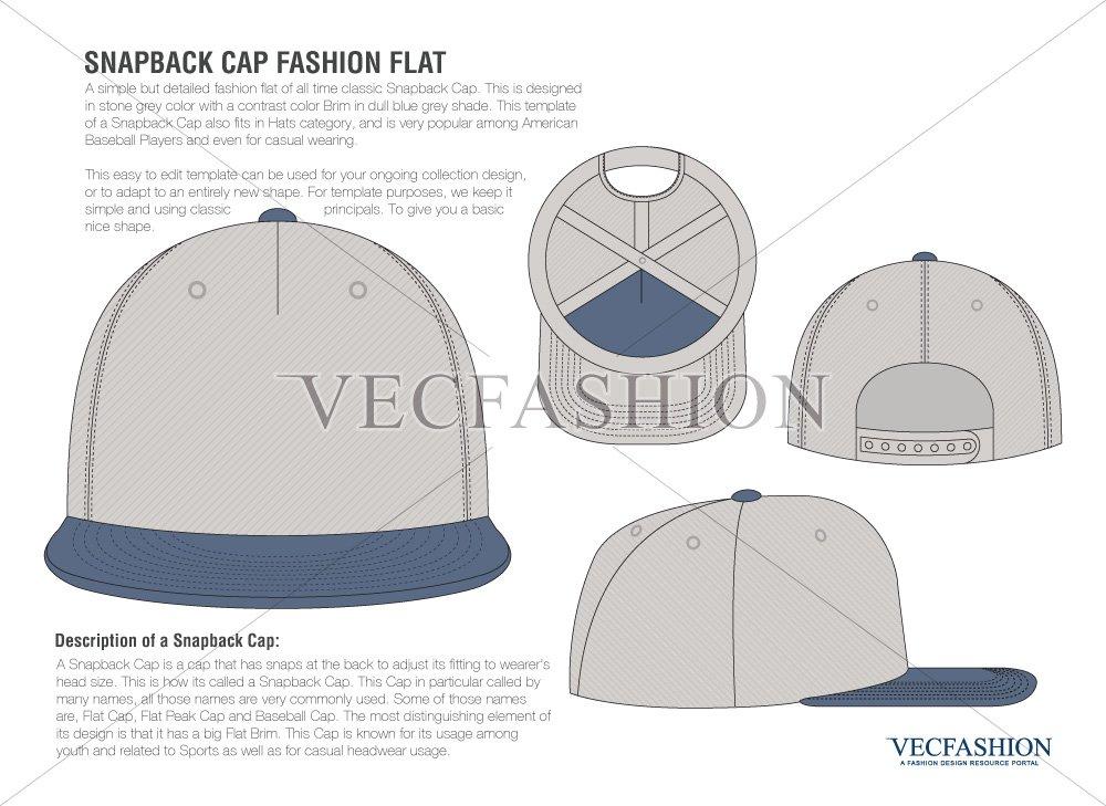 Snapback Cap Vector Fashion Flat ~ Illustrations ~ Creative Market 9c7ebe3509a