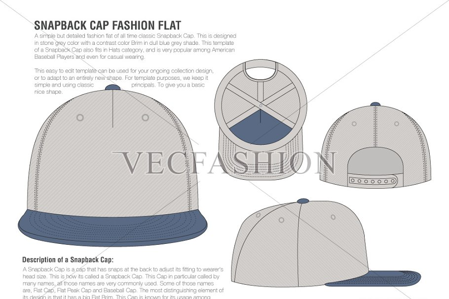 c08822b1225 Snapback Cap Vector Fashion Flat ~ Illustrations ~ Creative Market