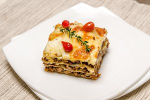 Portion of lasagna