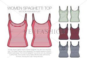 Women Spaghetti Top Vector Sketch