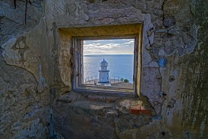 Window in an ruined lighthouse