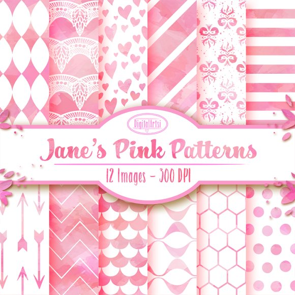 Watercolor Pink and White Patterns