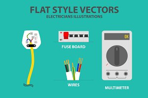 Flat Style Electrician Vectors