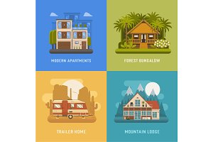 Bungalow, Cottage, Trailer and House