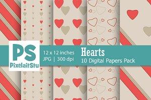 Valentine Hearts Pattern (Brown)