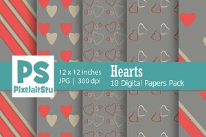 Valentine Hearts Pattern (Grey)