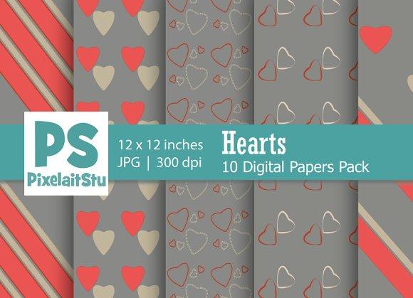 Valentine Hearts Pattern (Grey)