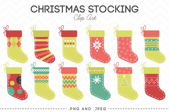 Christmas Stocking Clip Art ~ Illustrations on Creative Market