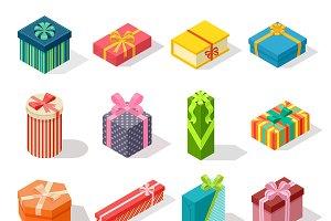 Isometric gift box vector