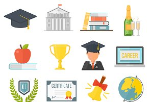 Graduation education vector set