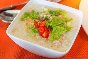 Boiled rice pork or mush