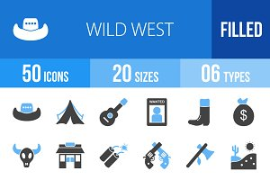 50 Wild West Blue & Black Icons