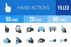 50 Hand Actions Blue & Black Icons
