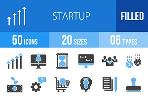 50 Startup Blue & Black Icons