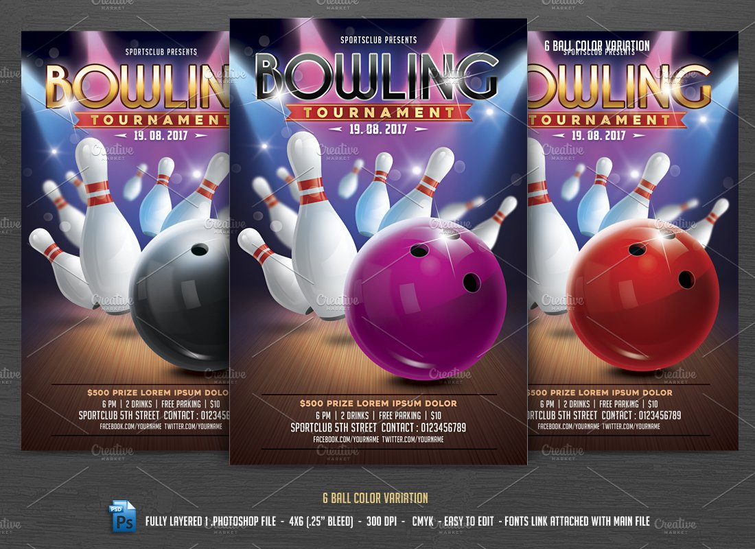 Bowling Tournament Flyer Flyer Templates Creative Market – Bowling Flyer Template