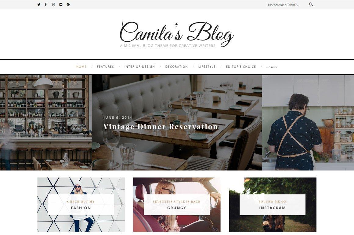 Camila - WordPress Blog Theme ~ WordPress Blog Themes ~ Creative Market