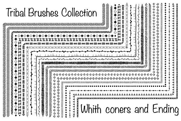 20 Hand-drawn ethnic brushes