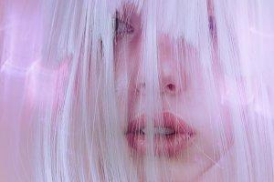 vogue art portrait of a stunning blonde beauty face